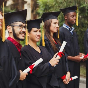 Group of multiethnic students on graduation day
